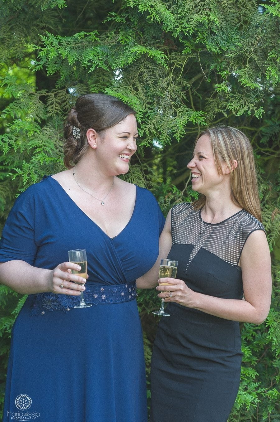 Bride and her best friend at Birtsmorton Court Navy Blue Wedding - Maria Assia Photography