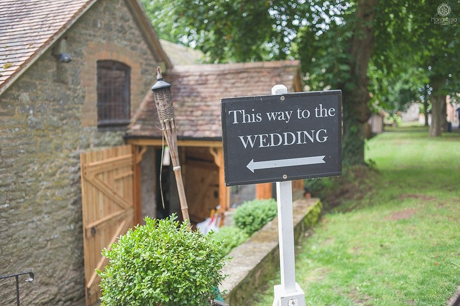 Wedding sign at Birtsmorton Court