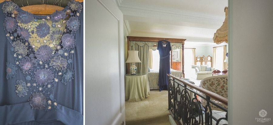 Blue wedding dress in the Birtsmorton Court Navy Blue Wedding suite- Maria Assia Photography