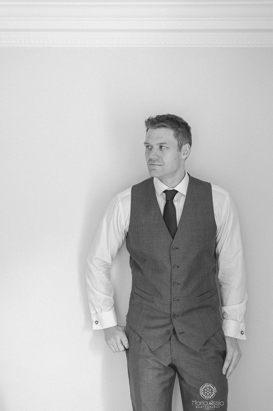 Wedding portrait of the groom at Birtsmorton Court