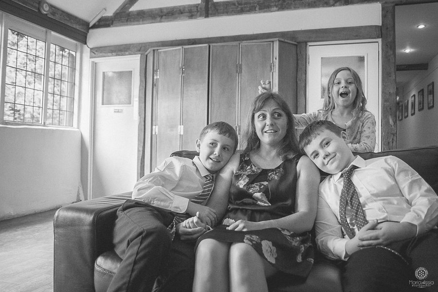 Family at a wedding - Birtsmorton Court Navy Blue Wedding