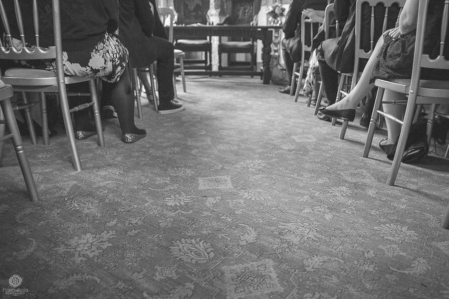 Wedding guests waiting for the bride at Birtsmorton Court