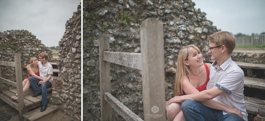 Engaged couple sitting at Kent's Eynsford Castle