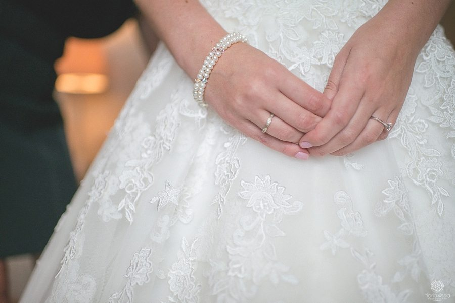 close up of bride's hands