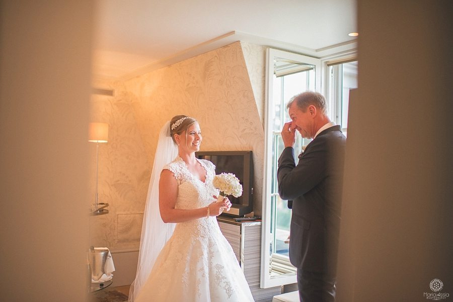 Bride's father crying on his first look of his daughter bride