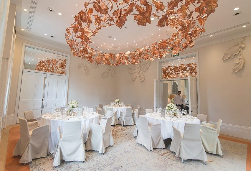 The Oak Room at Coworth Park dressed for an intimate wedding breakfast