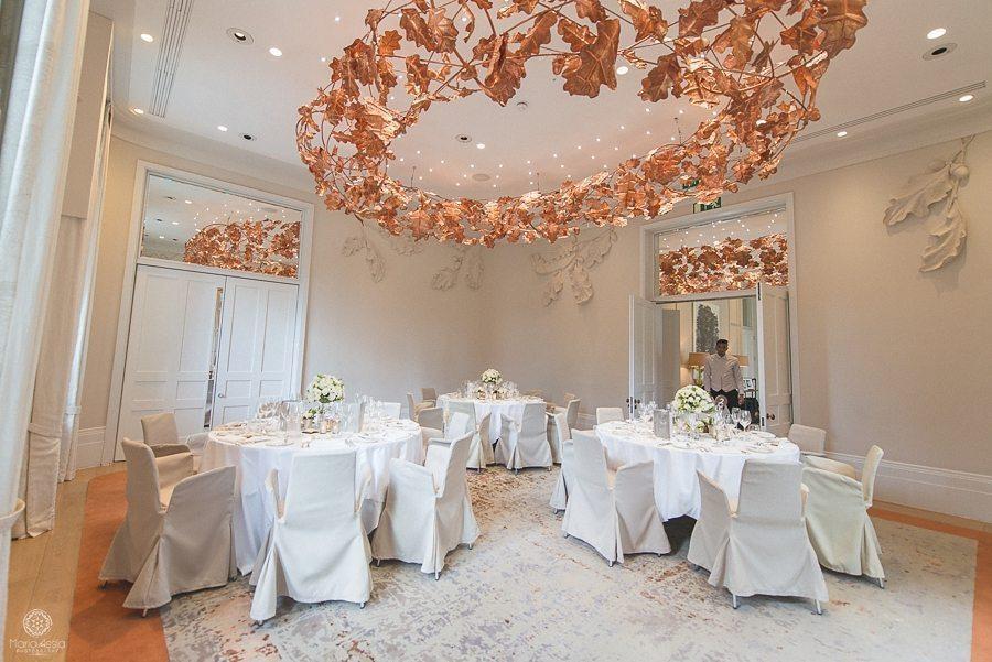 Reception room setup at Coworth Park wedding