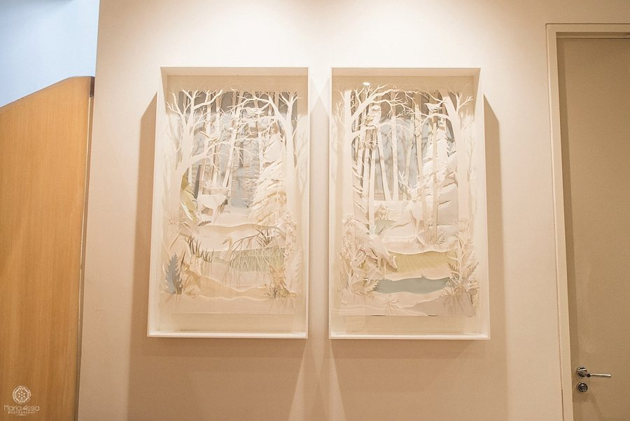 Two framed intricate layered Paper cuttings at Coworth Park