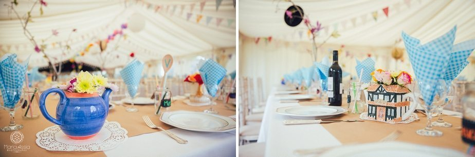 Wedding table decorations and teapots in Alice in Wonderland wedding theme