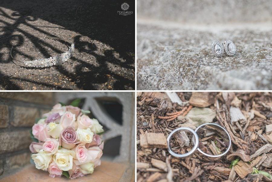 Bridal wedding tiara, wedding jewelry, wedding bouquet and wedding rings