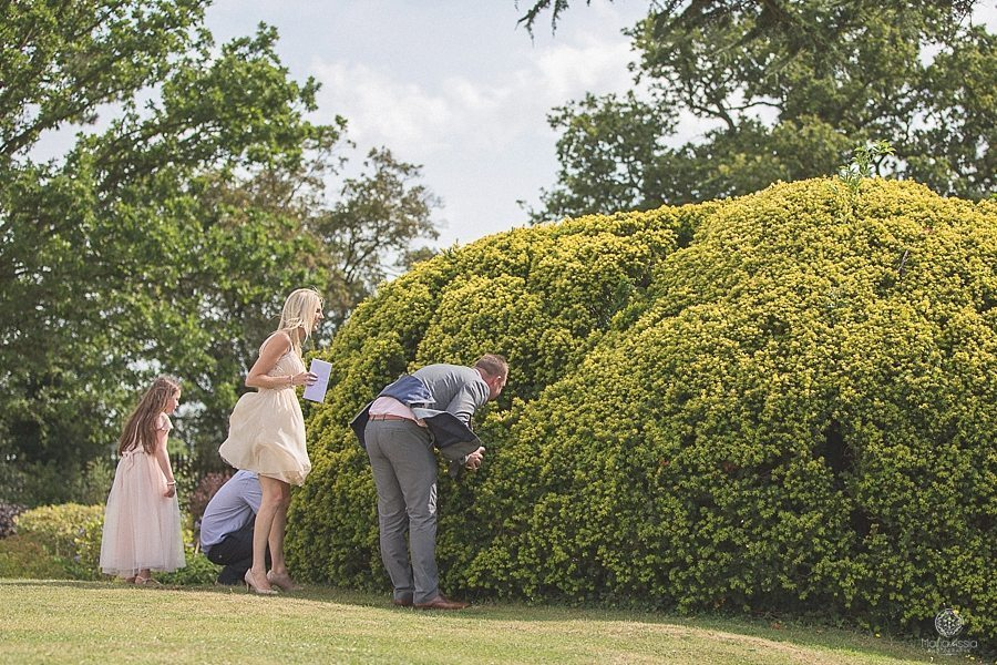 Guests looking into a bush