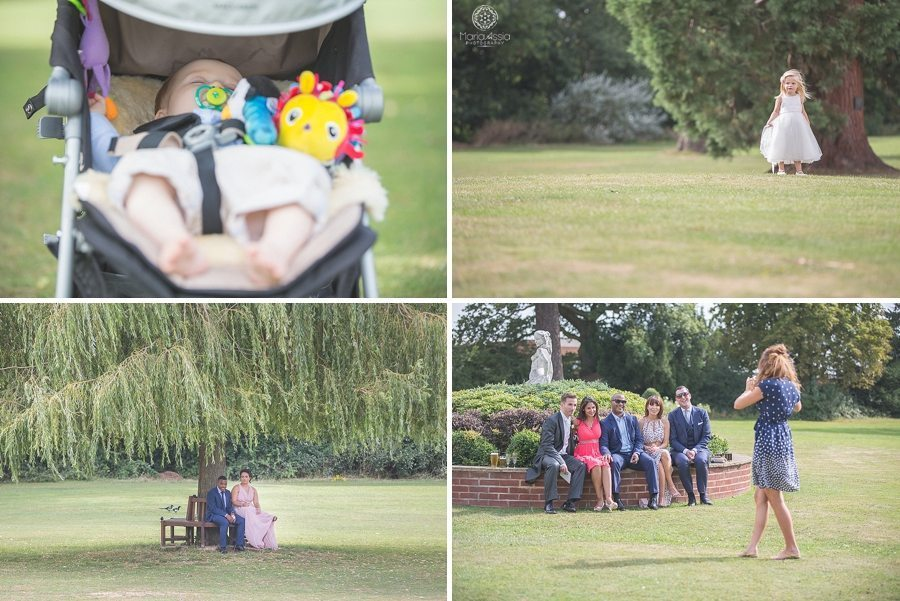 Wedding guests enjoying the sunshine in the grounds at a Bickley Manor Hotel wedding