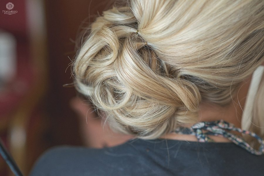 macro shot of Bride's wedding hairstyle