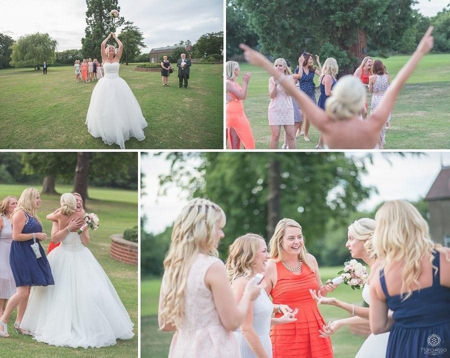 Bride throwing her wedding flowers, wedding photographer in Kent