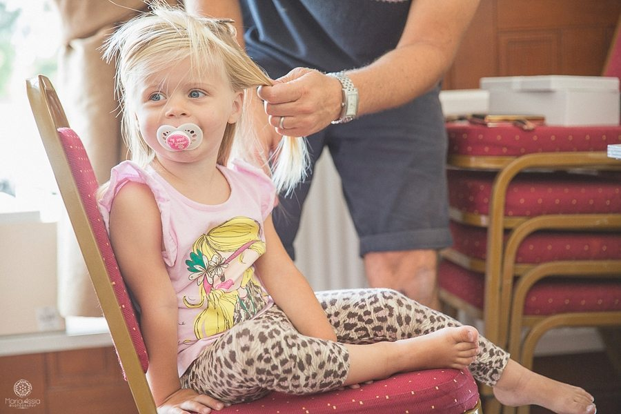 Flower girl's hair being done
