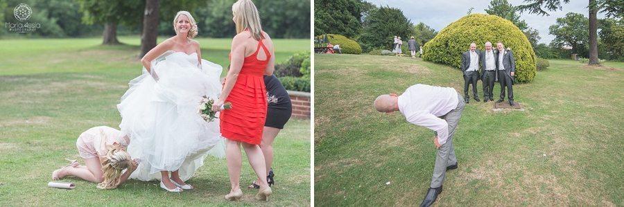 Funny poses at a wedding