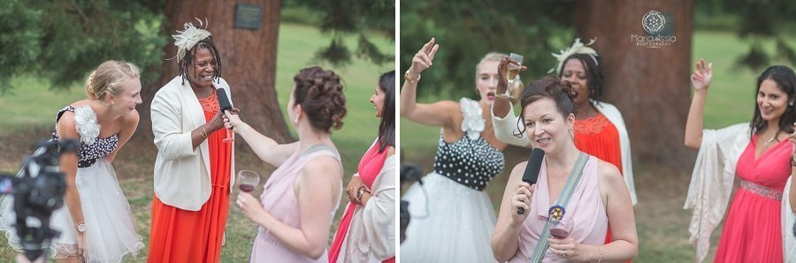 Guests leaving rap video messages for the bride and groom