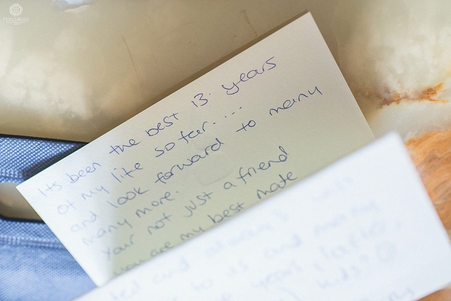 Close up of the groom's letter to his bride