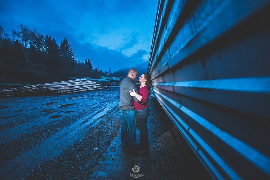 Evening Black Forest evening low light couple shoot night time portraits by creative wedding photographer Maria Assia Photography
