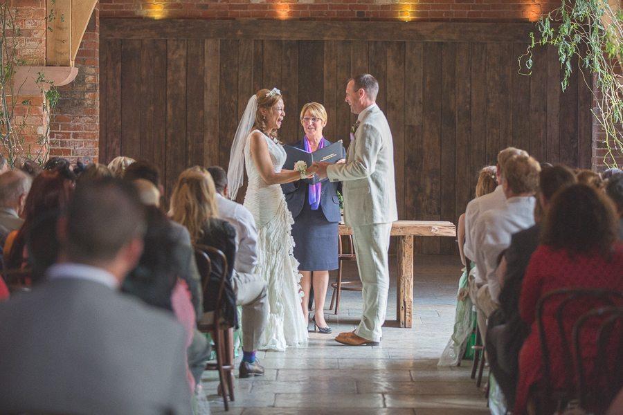 Wedding ceremony at Shustoke Farm Barns