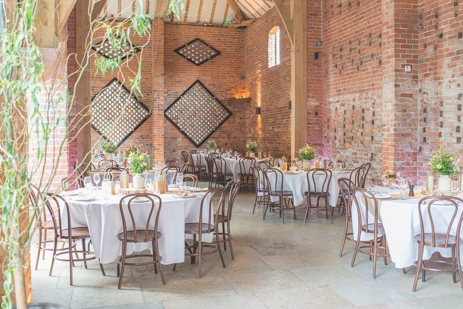 Shustoke farm barns decorated in a mint and lavender theme