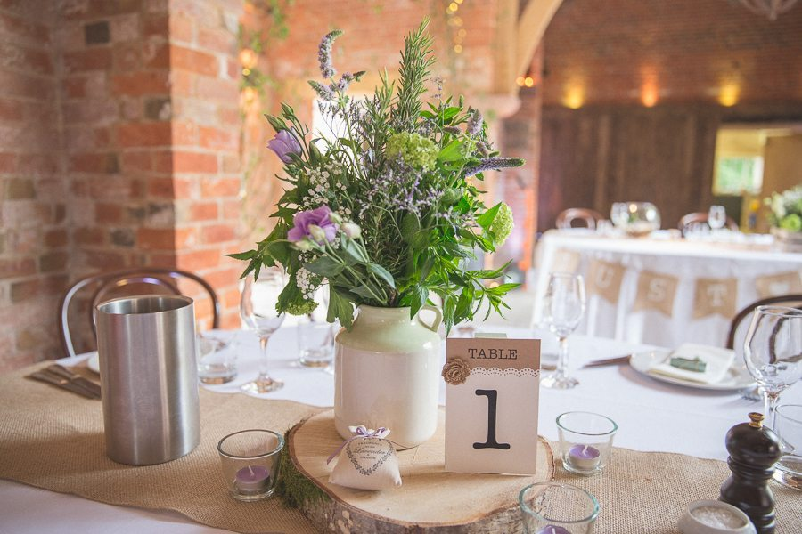 Mint Lavender and hessian wedding table decorations