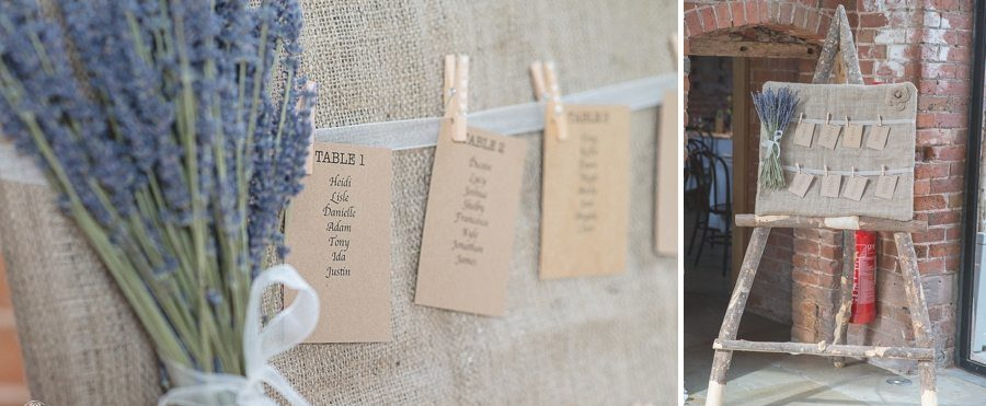 Lavender and mint wedding theme hessian Seating plan
