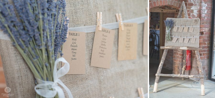 Lavender and mint wedding theme hemp table plan