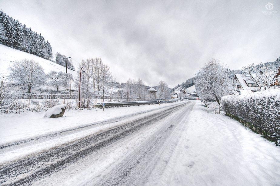 Snow filled landscape in the Black Forest