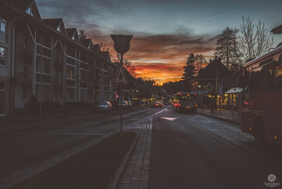 Sunset over Titisee in the black forest