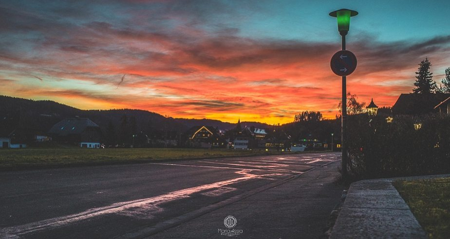 Sunset sky over Titisee in the Black Forest