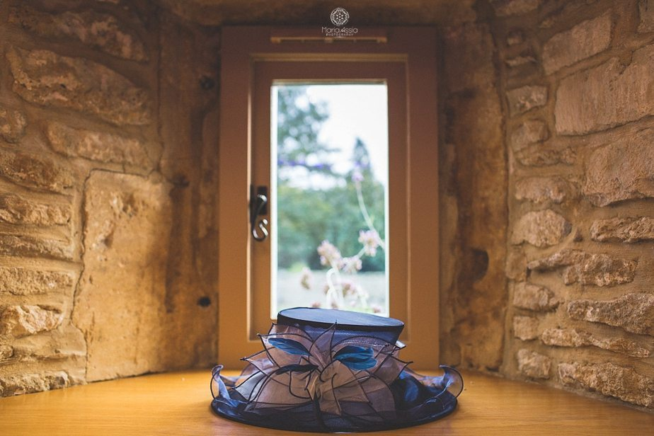 A wedding guest's hat lying in the window at Caswell House