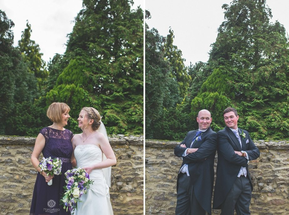 Bride and bridesmaid and groom and best man fun group shots at Caswell House purple themed autumn wedding