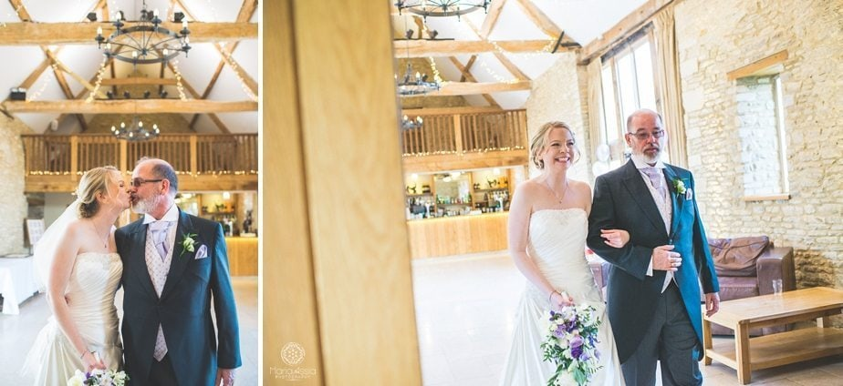 Bride walking down the aisle with her dad at Caswell House