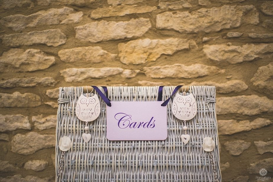 Purple themed autumn wedding Cards box lid with owl ornaments at Caswell House