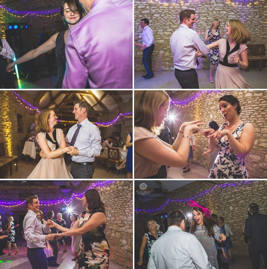 Caswell House purple themed autumn Wedding guests dancing