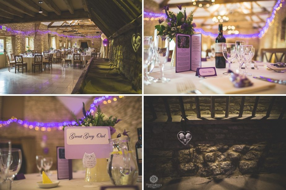 Caswell House purple themed autumn wedding dressed reception room