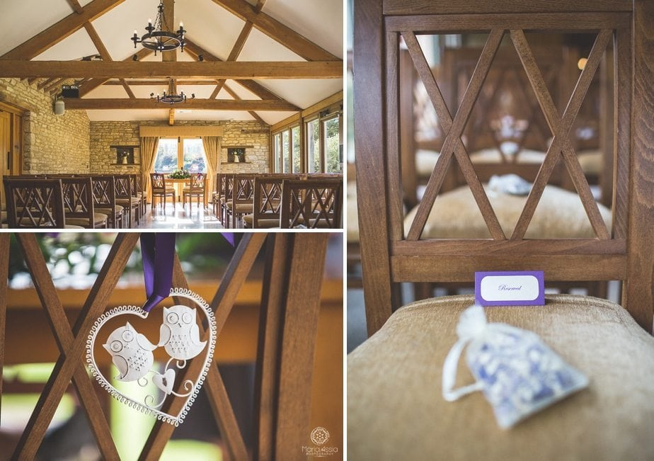 Dressed purple themed autumn Wedding ceremony room at Caswell House