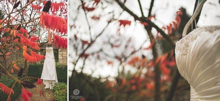 Purple Themed Autumn Wedding dress hanging off an red autumn tree