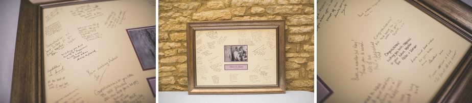 Wedding signing frame at Caswell House purple themed autumn wedding