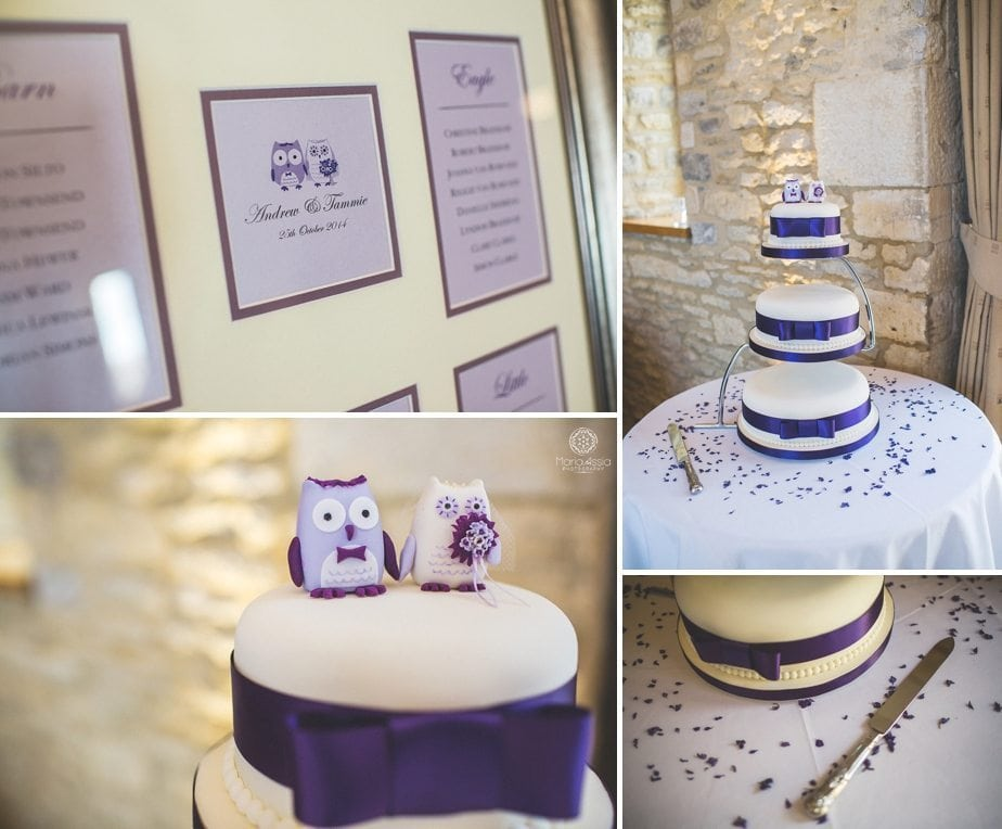 Purple themed autumn Wedding cake and seating plan at Caswell House