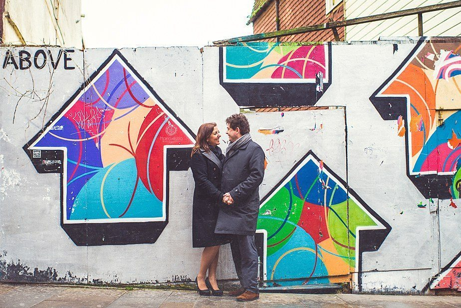 Arrows graffitti on a pre wedding shoot in Hastings