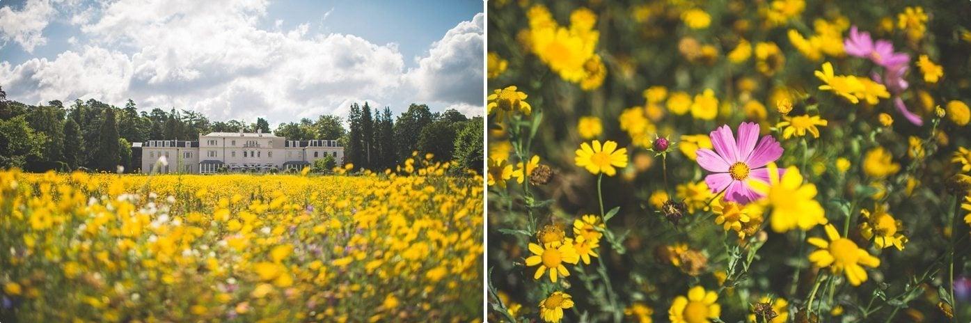 Coworth Park wedding venue Mansion and Wild flower meadow