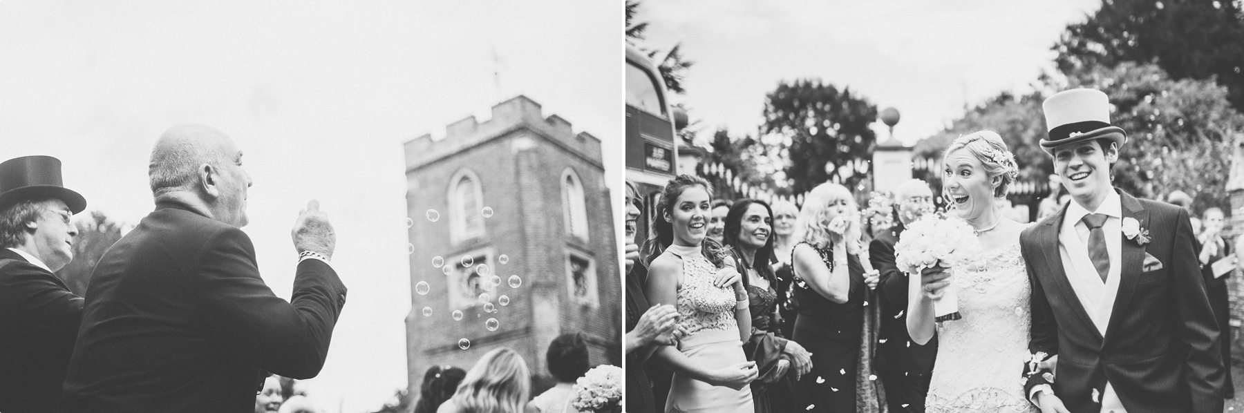 Bubble and petal wedding confetti being thrown by wedding guests