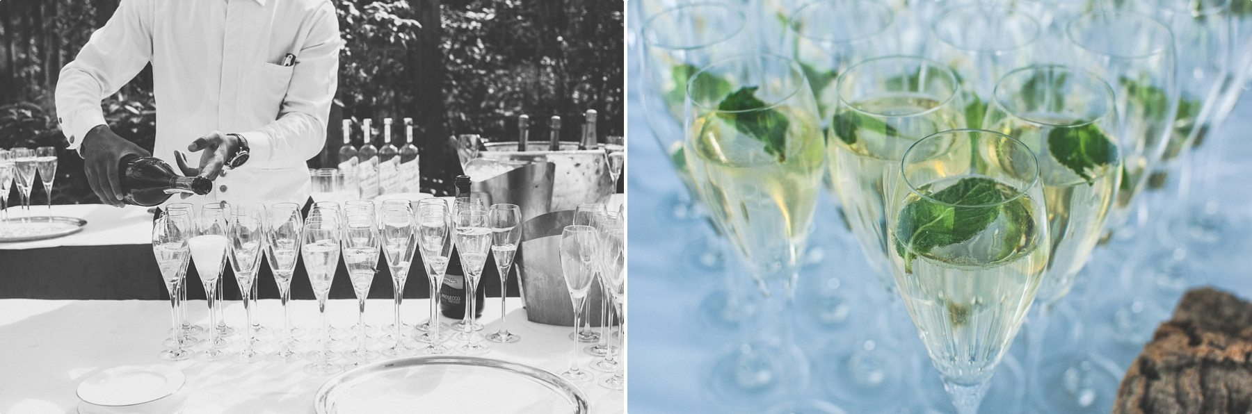 Champagne flutes being filled and glistening in the sun at Coworth Park Barn summer wedding