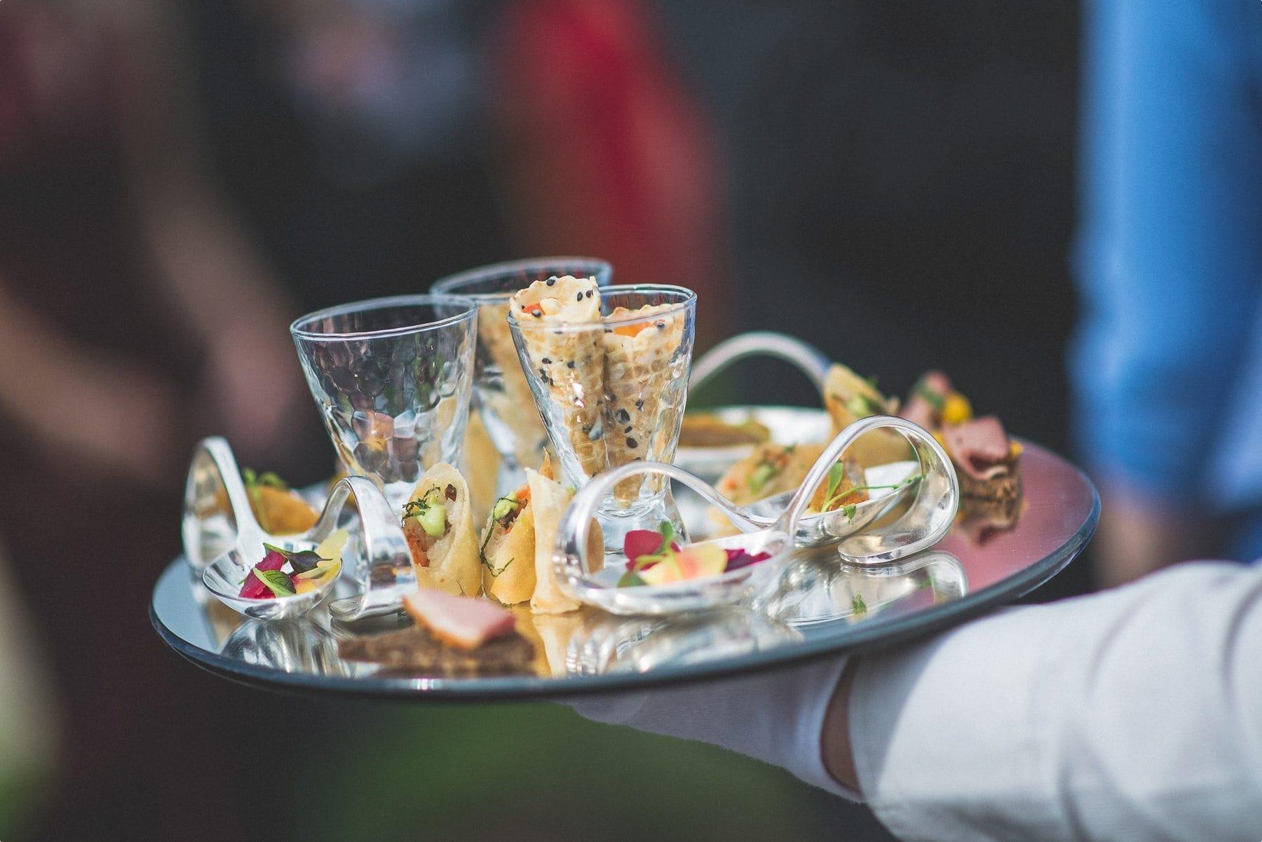 Coworth park Barn summer wedding canapés