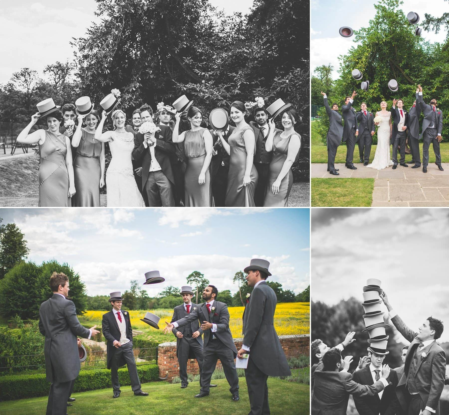 Bride groom bridesmaids and ushers playing with traditional top hats at this coworth park Barn summer wedding