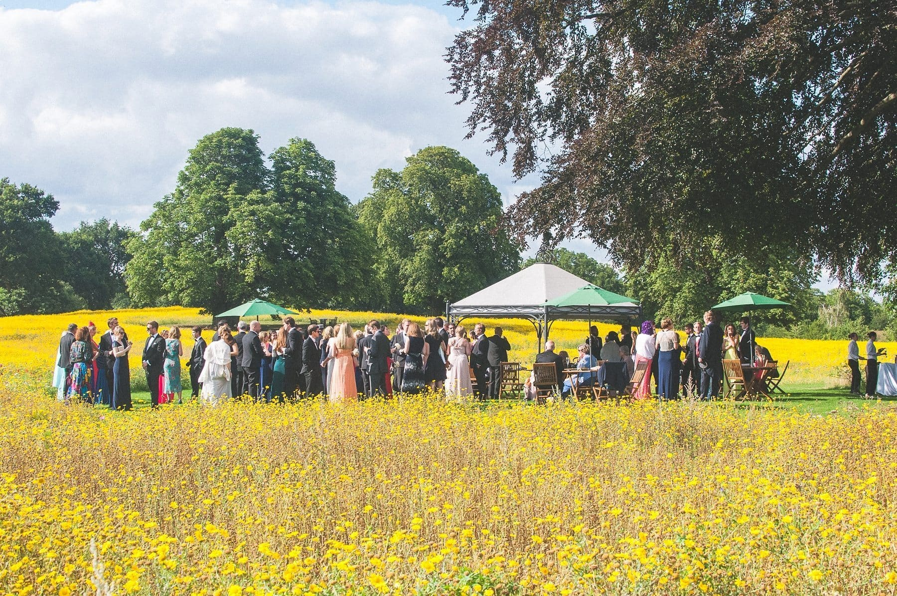 Coworth Park Barn summer wedding guests gathering at the gazebo in the summer wildflower meadow