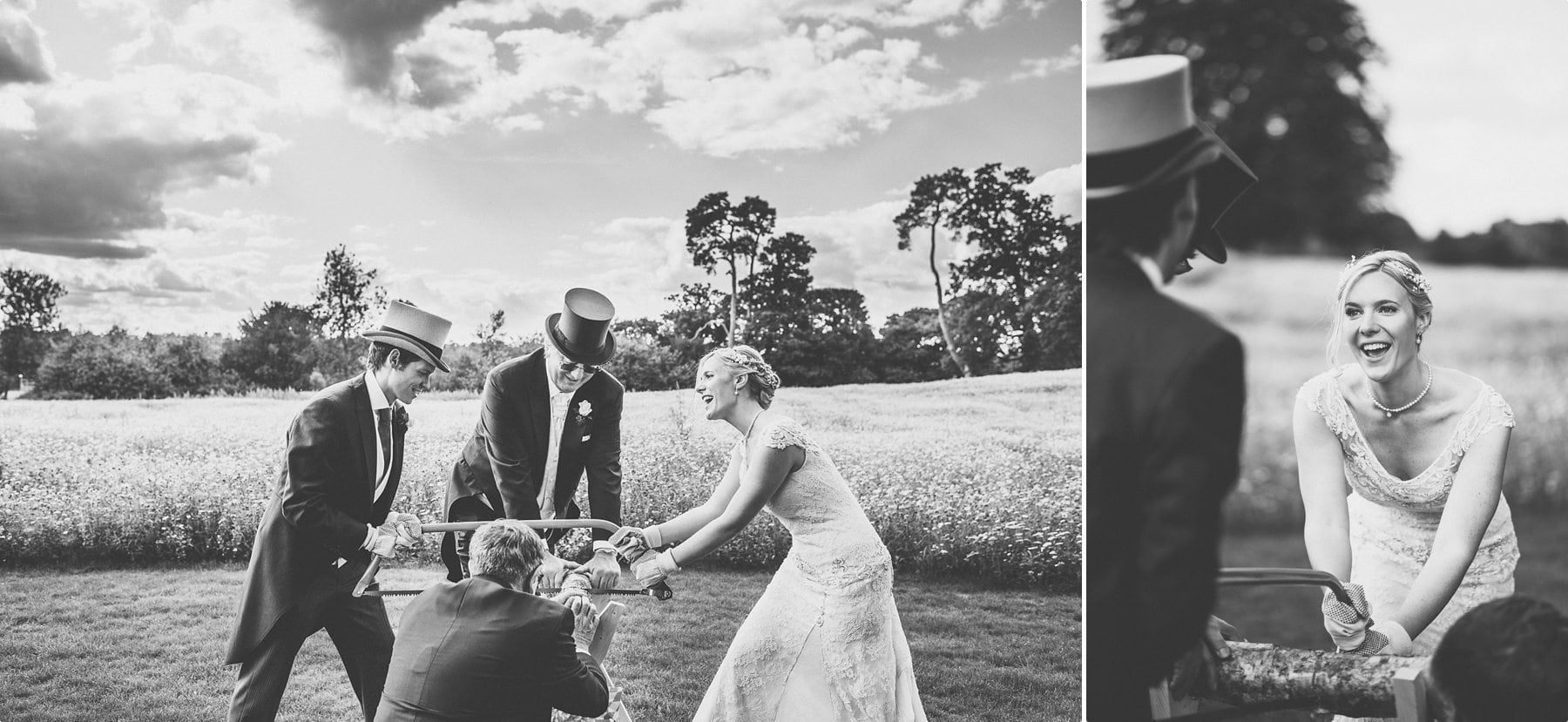 Coworth Park Barn summer wedding photography of bride and groom sawing through a log together to prove they can work as a team