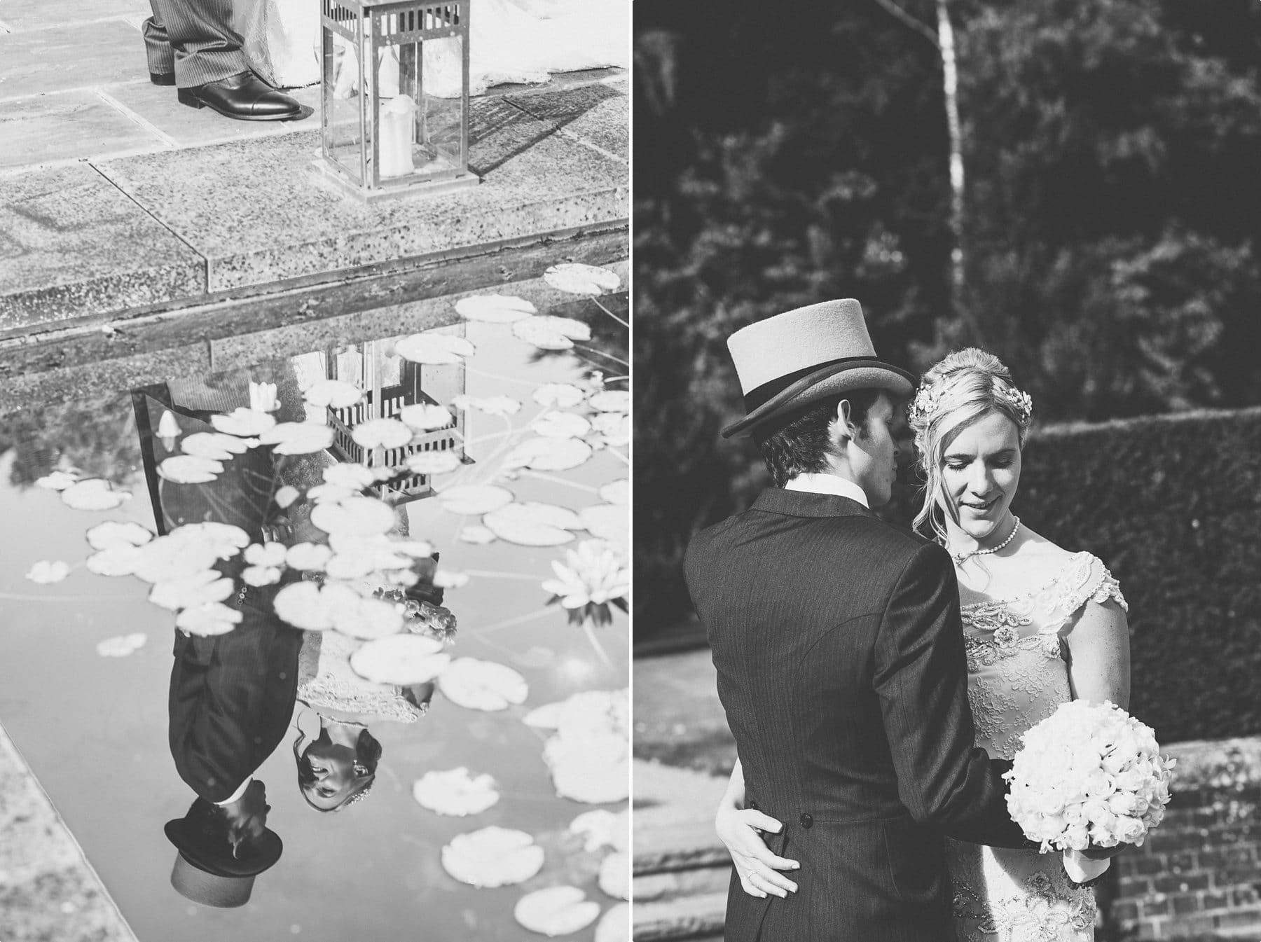 Bride and groom summer wedding portrait at coworth park lily pond fountain